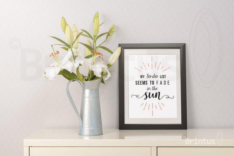 Frame mockup - clean bright interior lily flowers example image 6
