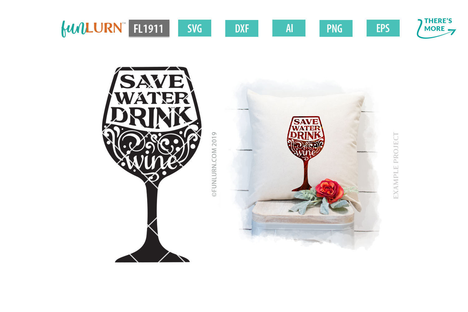 Save Water Drink Wine SVG Cut File example image 1