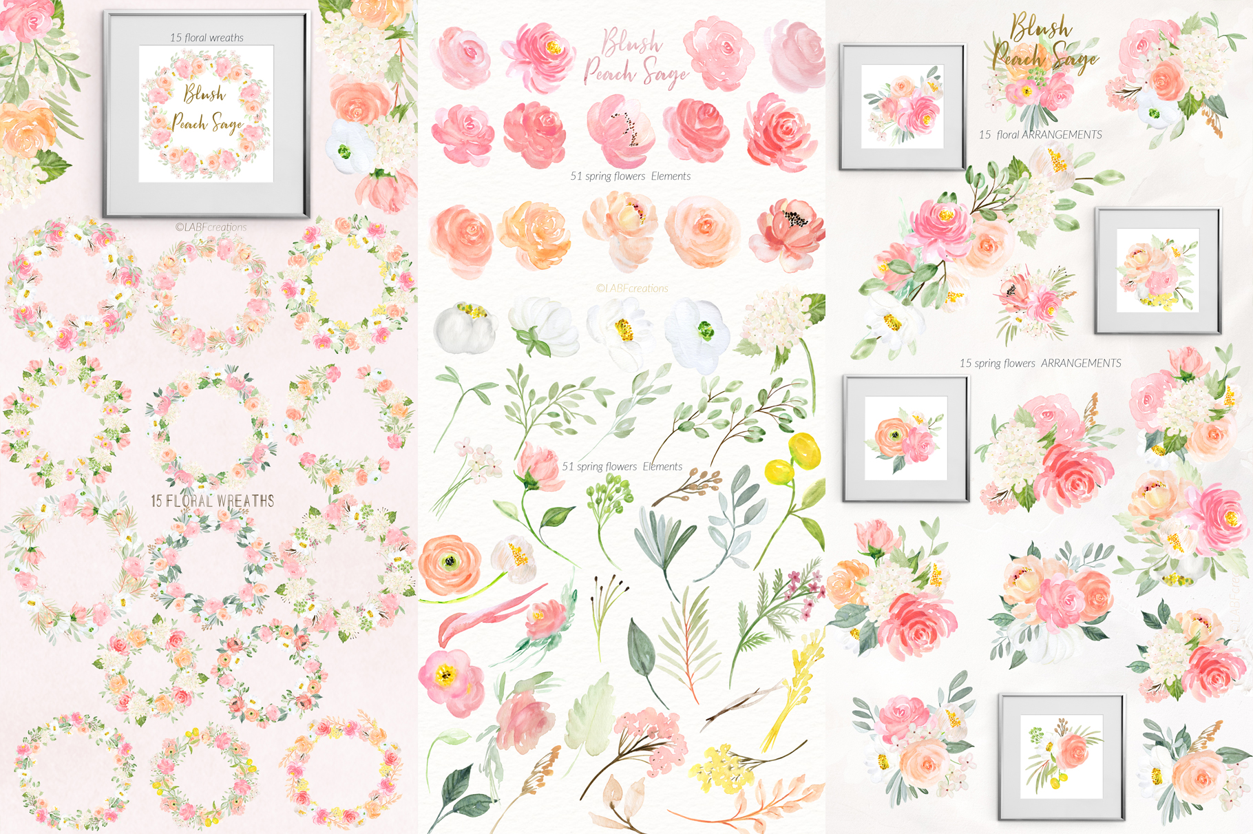 Blush Peach Sage Watercolor flowers clipart example image 8