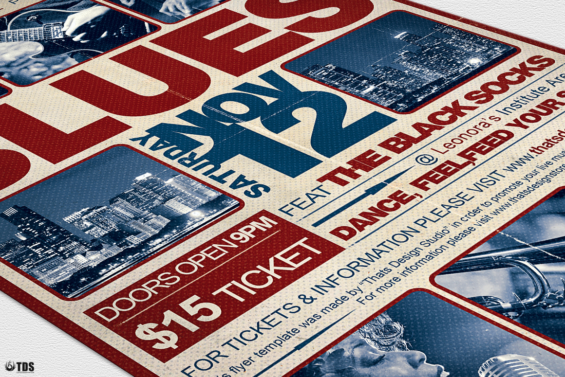 Blues Festival Flyer Template V2 example image 7