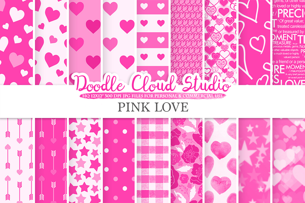 Pink Romantic digital paper, Valentine's day patterns  Love Roses Romance Heart Bokeh background, Instant Download Personal & Commercial Use example image 1
