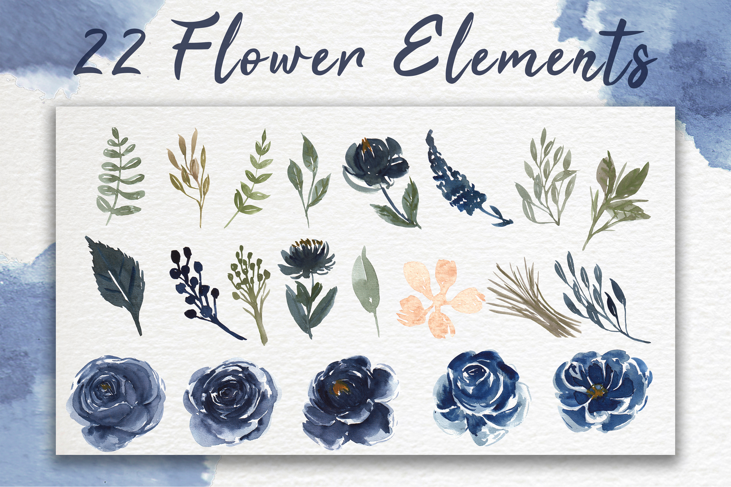 Navy Blue Flower Watercolor Clip-art example image 6