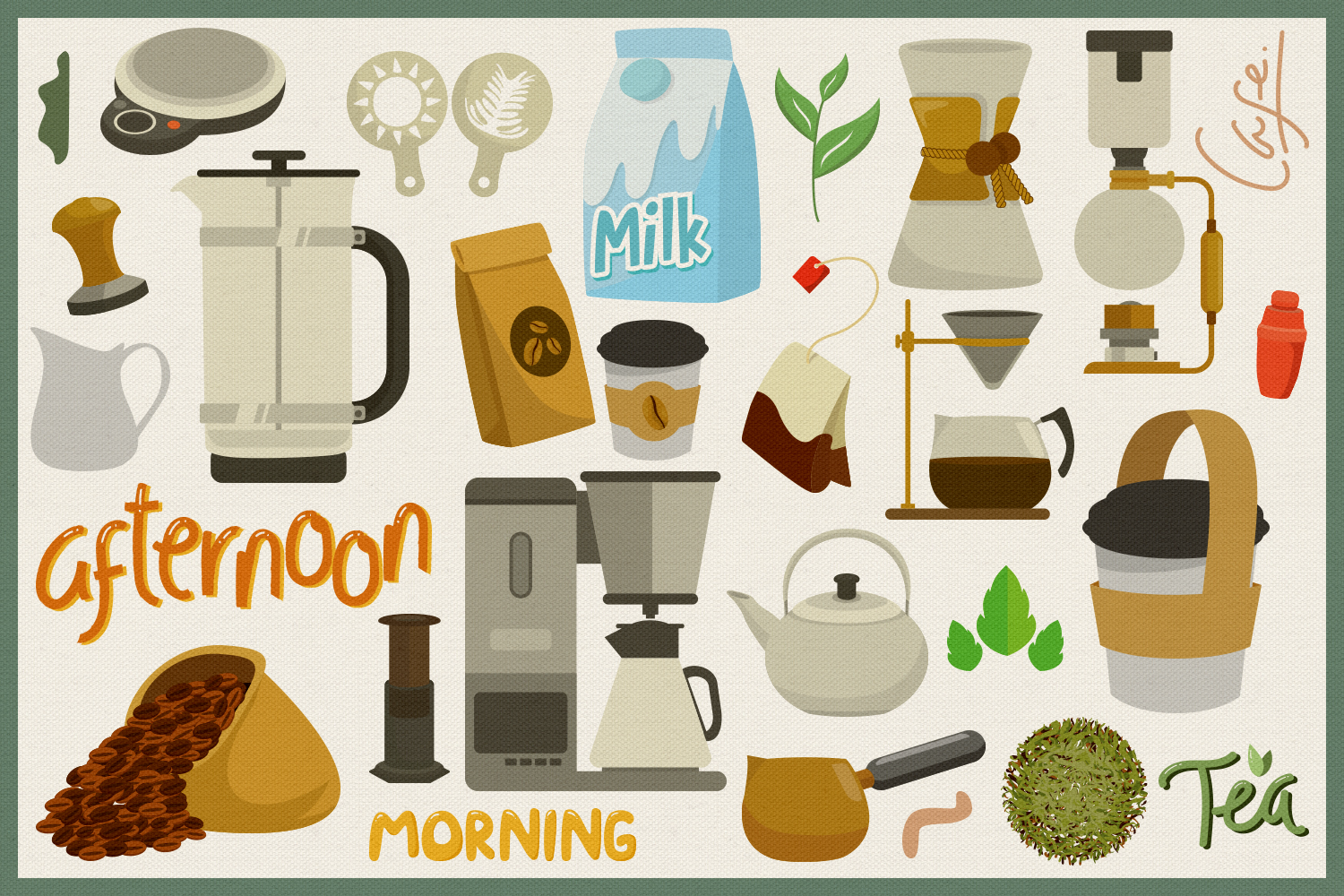 75 Coffee and Tea Vector Clipart & Seamless Patterns example image 2