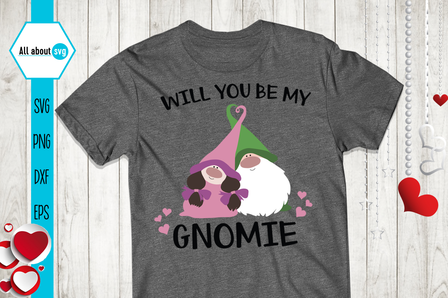 Will You Be My Gnomie Svg, Valentine's Gnomies Svg example image 3