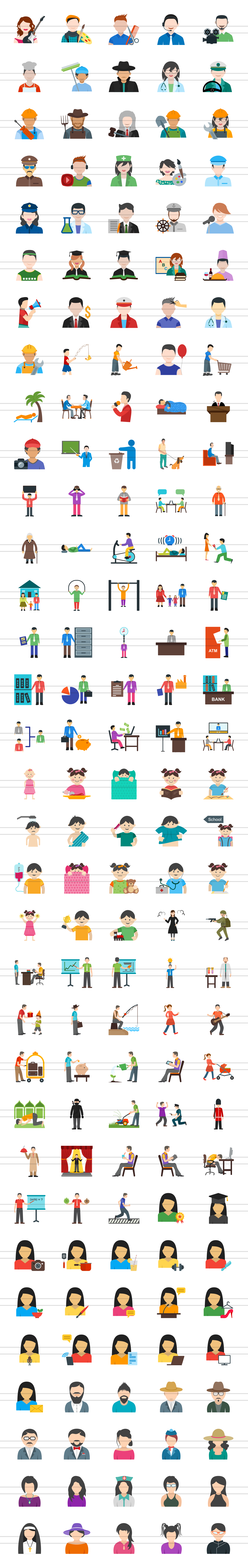 166 People Flat Icons example image 2
