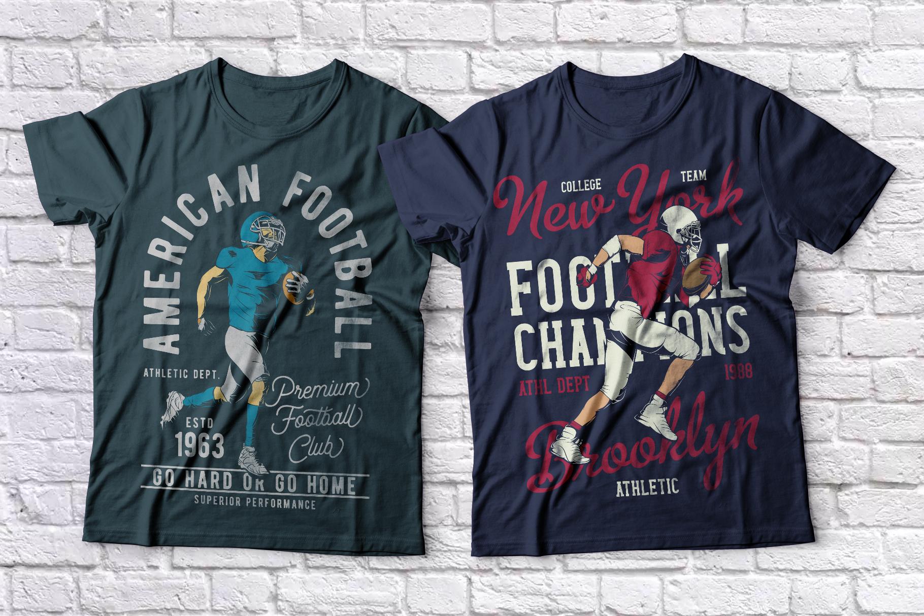 American football t-shirts set example image 1