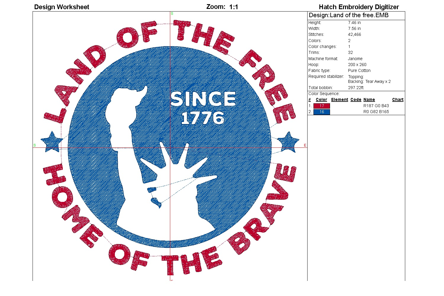 Land of the free| Independence day | Machine embroidery| example image 6