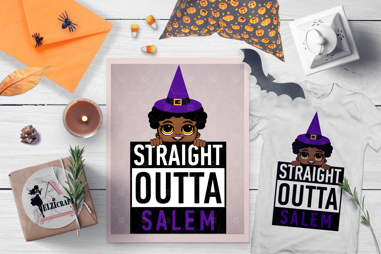 Halloween Straight Outta Salem Peeking Afro Boy Witch SVG example image 1