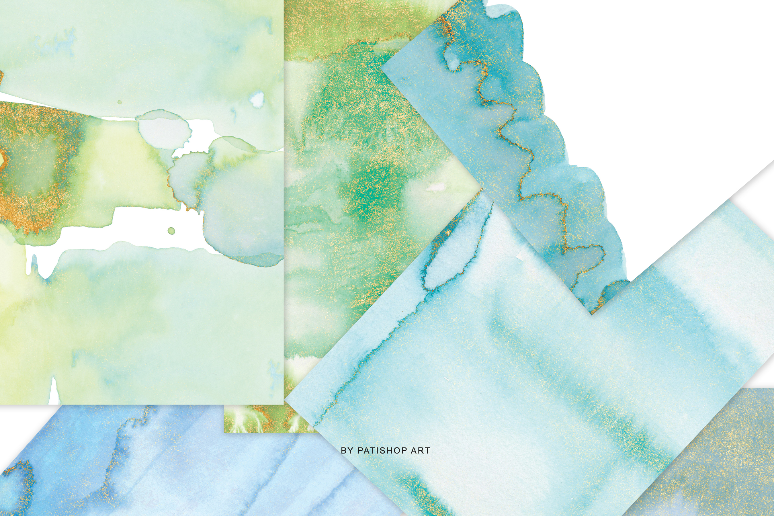Watercolor Glittered Green & Turquoise Background 5x7 example image 9