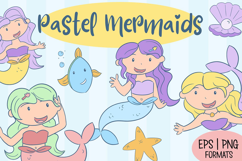 Pastel Mermaid Illustrations example image 1
