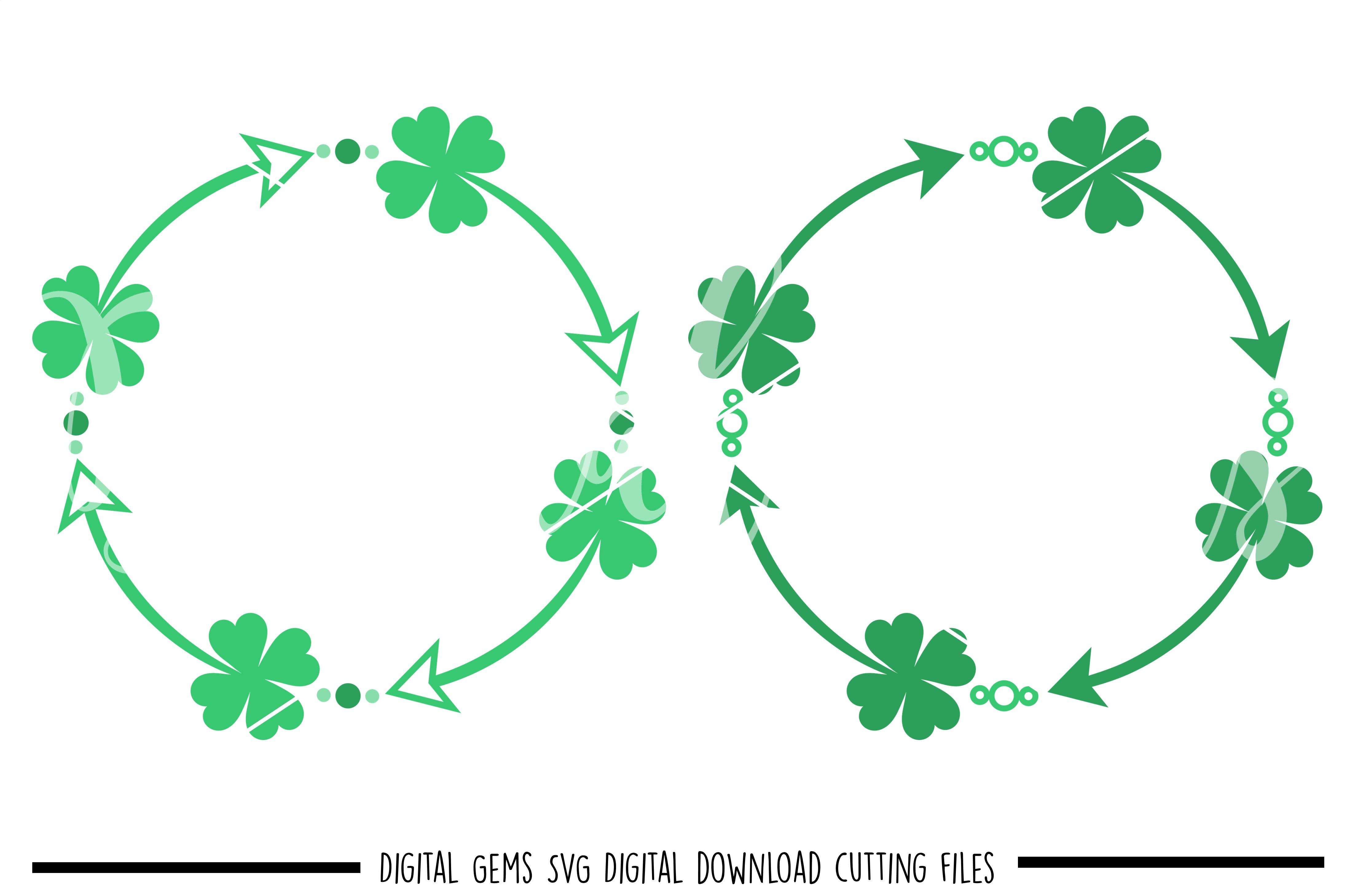 St Patrick's day Shamrock frames SVG / PNG / EPS / DXF Files example image 1