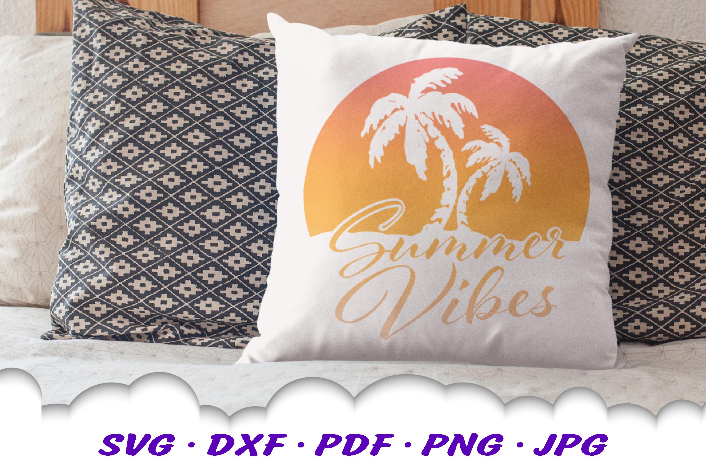Summer Vibes Beach Sun Palms SVG DXF Cut Files example image 4