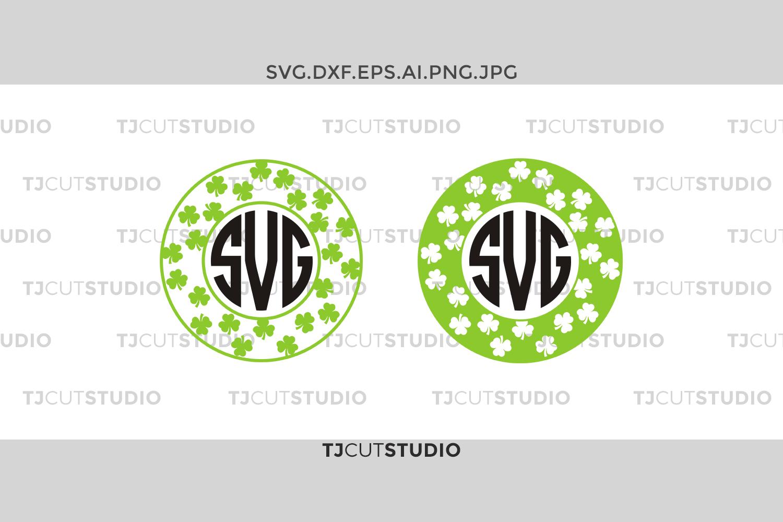 Shamrock monogram svg, four leaf monogram svg, clover monogram svg, Svg Files for Silhouette Cameo or Cricut, Commercial & Personal Use. example image 1