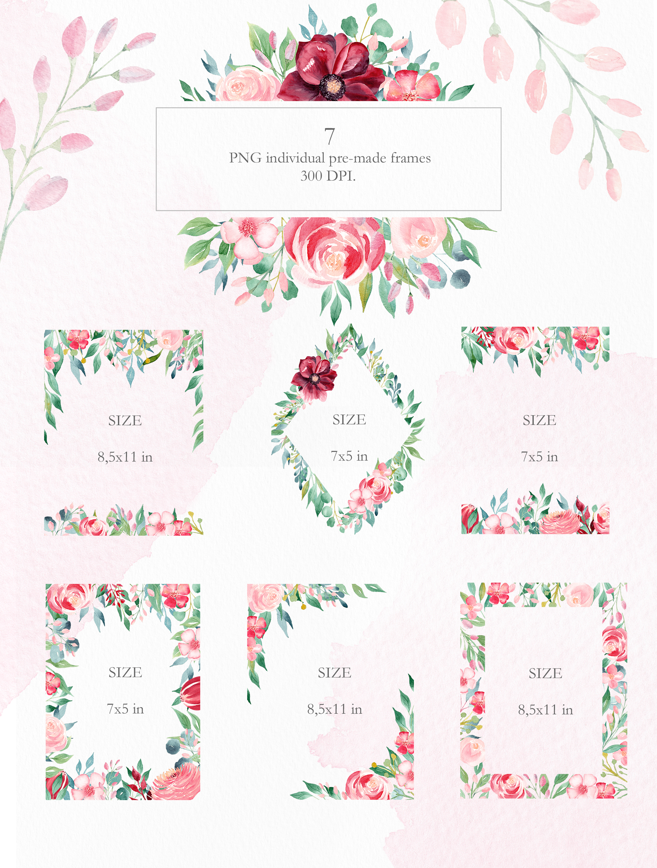 Watercolor Burgundy Floral Clipart Collection. example image 9