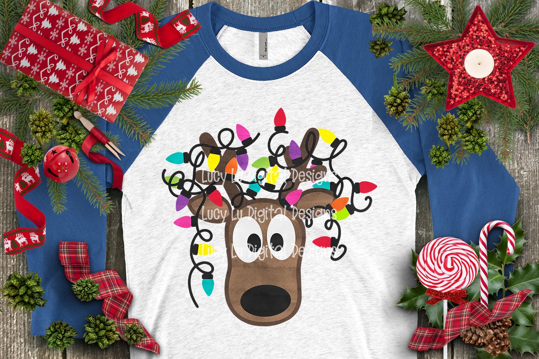 Christmas Lights Tangled Reindeer Watercolor example image 5
