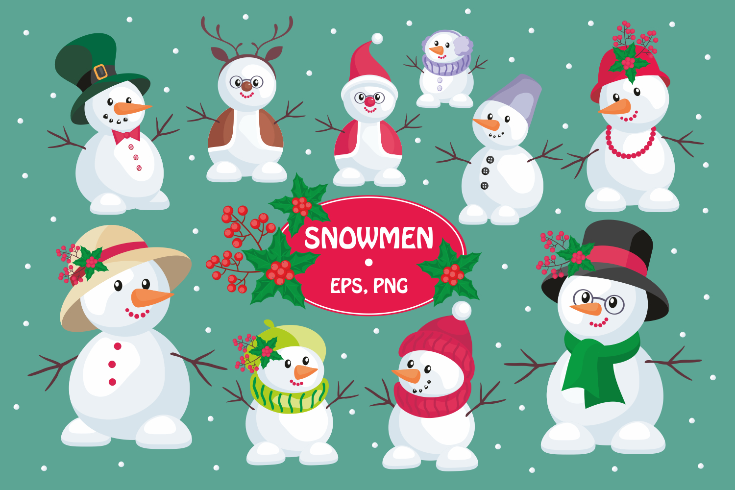 Christmas bundle. Vector cliparts and seamless patterns example image 16