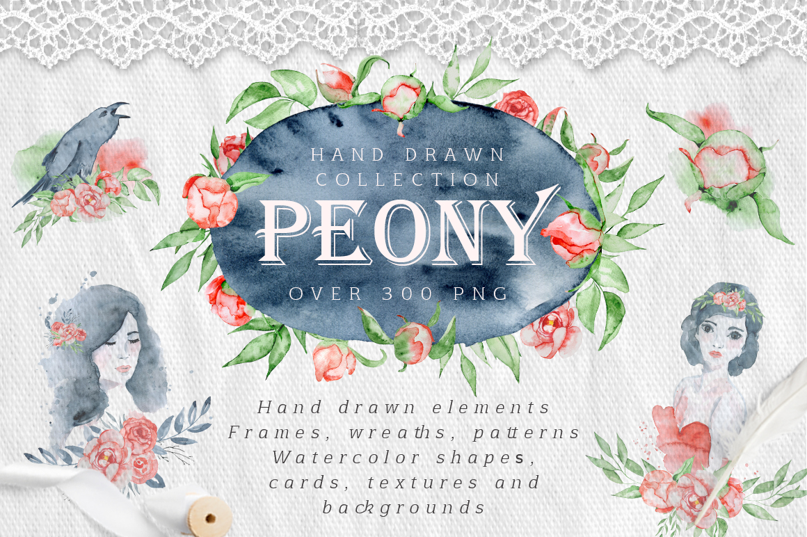 Watercolor peonies romantic floral clipart example image 1