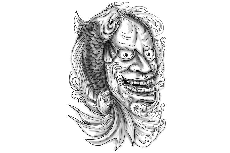 Hannya Mask Koi Fish Cascading Water Tattoo example image 1