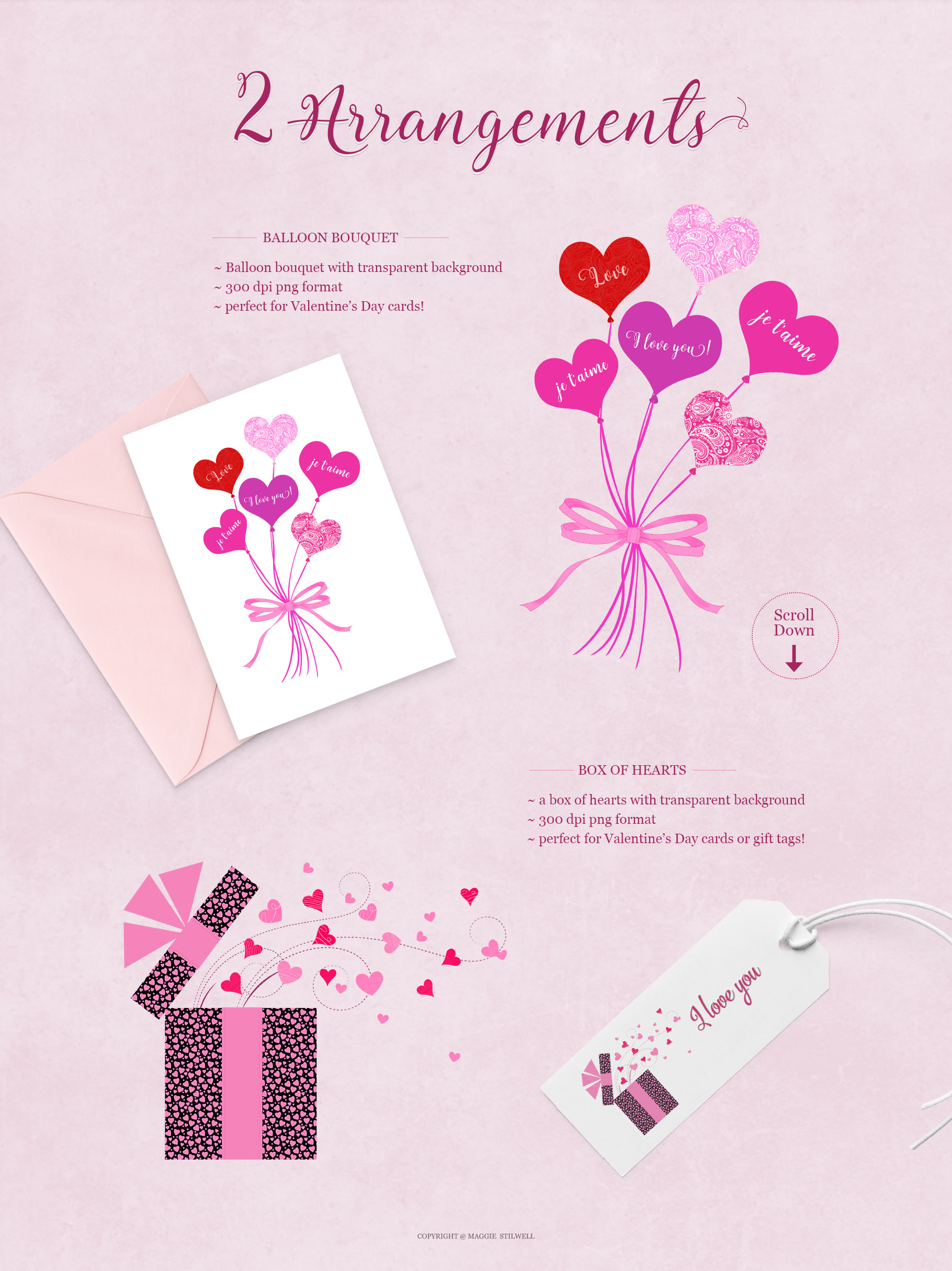 All Hearts Clipart Set example image 2