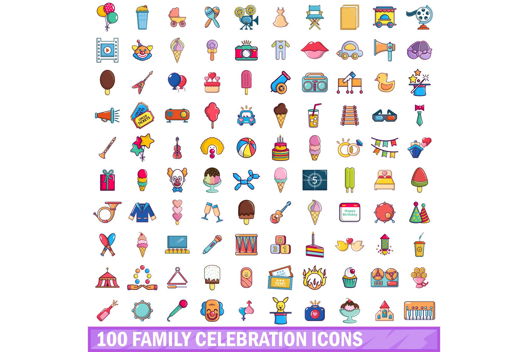 100 family celebration icons set, cartoon style example image 1