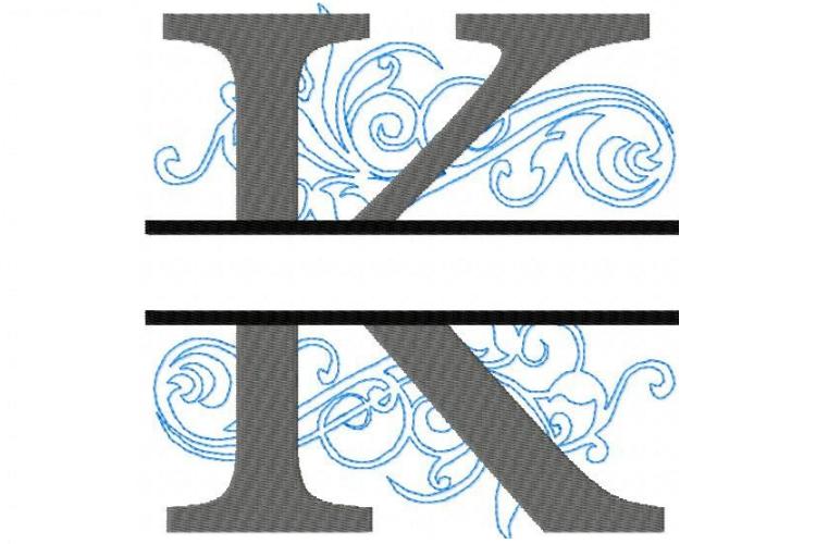 Embroidery Fonts Split Monogram, Monogram K, 4X4 5X7 6x10 example image 1