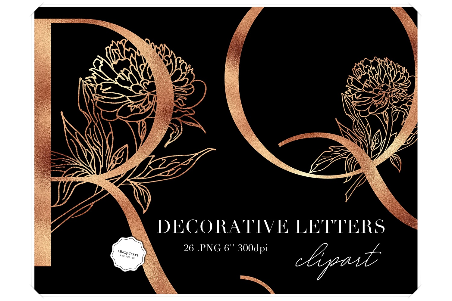 Copper Letters Clipart - Botanical Alphabet example image 1