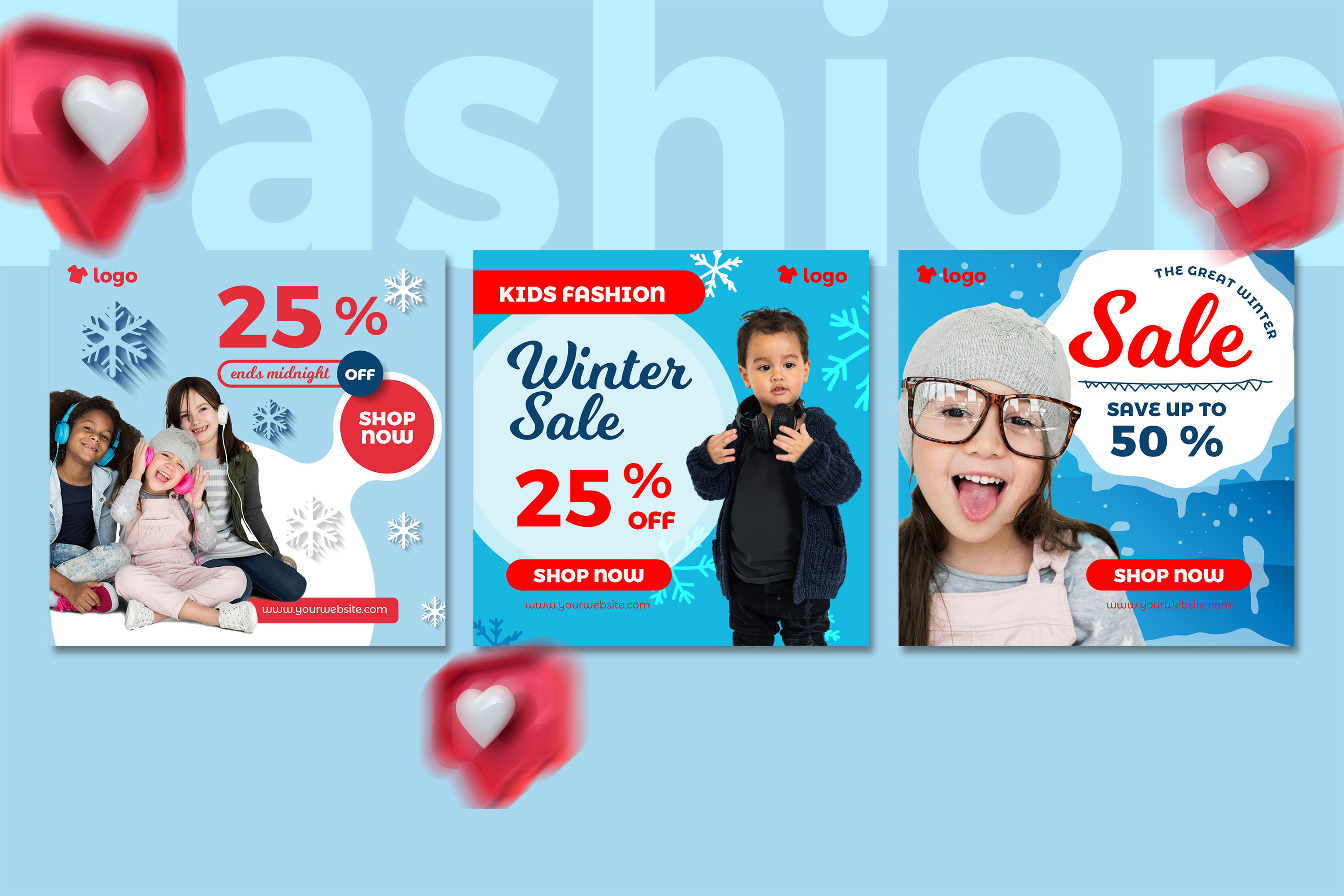 Kids Fashion Winter Sale Social Media Post template example image 3