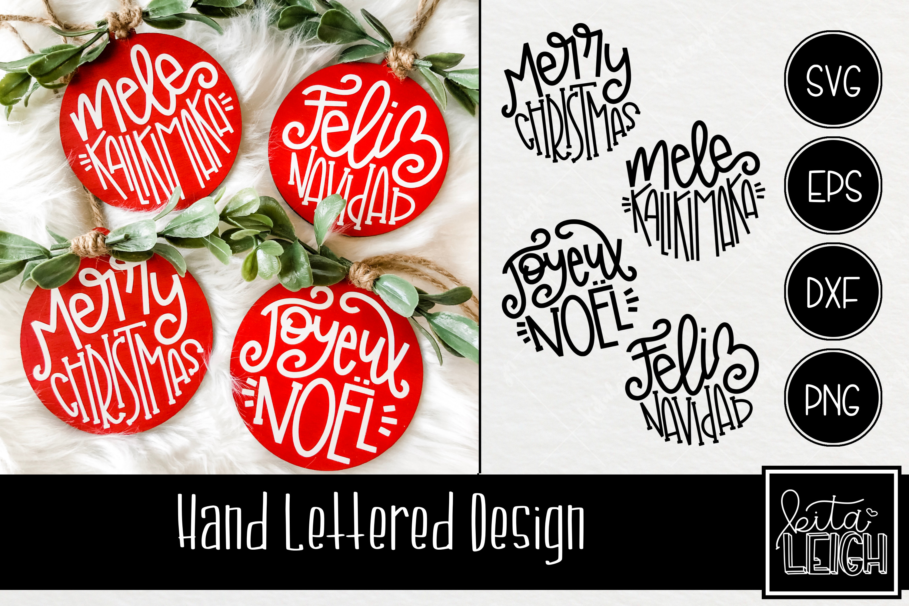 Hand Lettered Merry Christmas in Different Languages Rounds example image 1