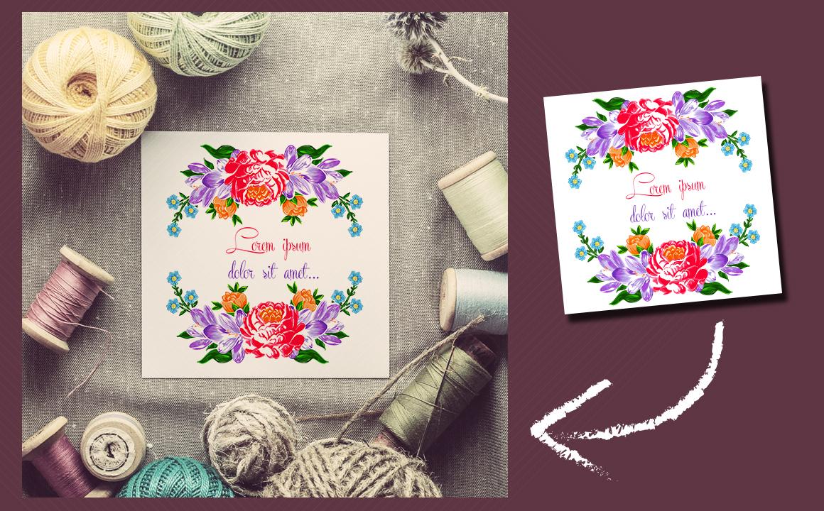 Textile flowers set. example image 3