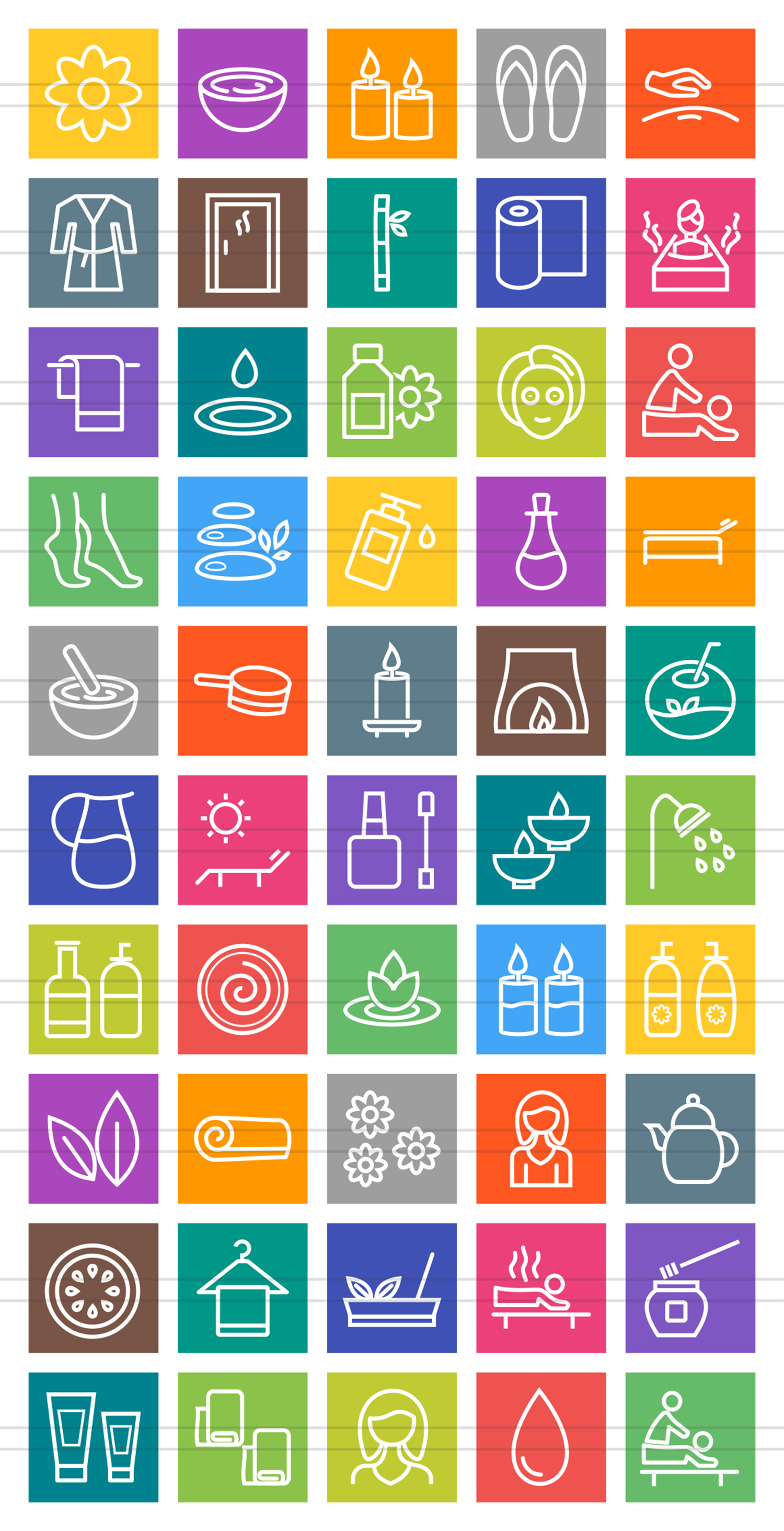 50 Spa Line Multicolor B/G Icons example image 2