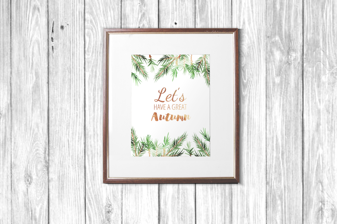 Watercolor Pine Branches Set example image 4