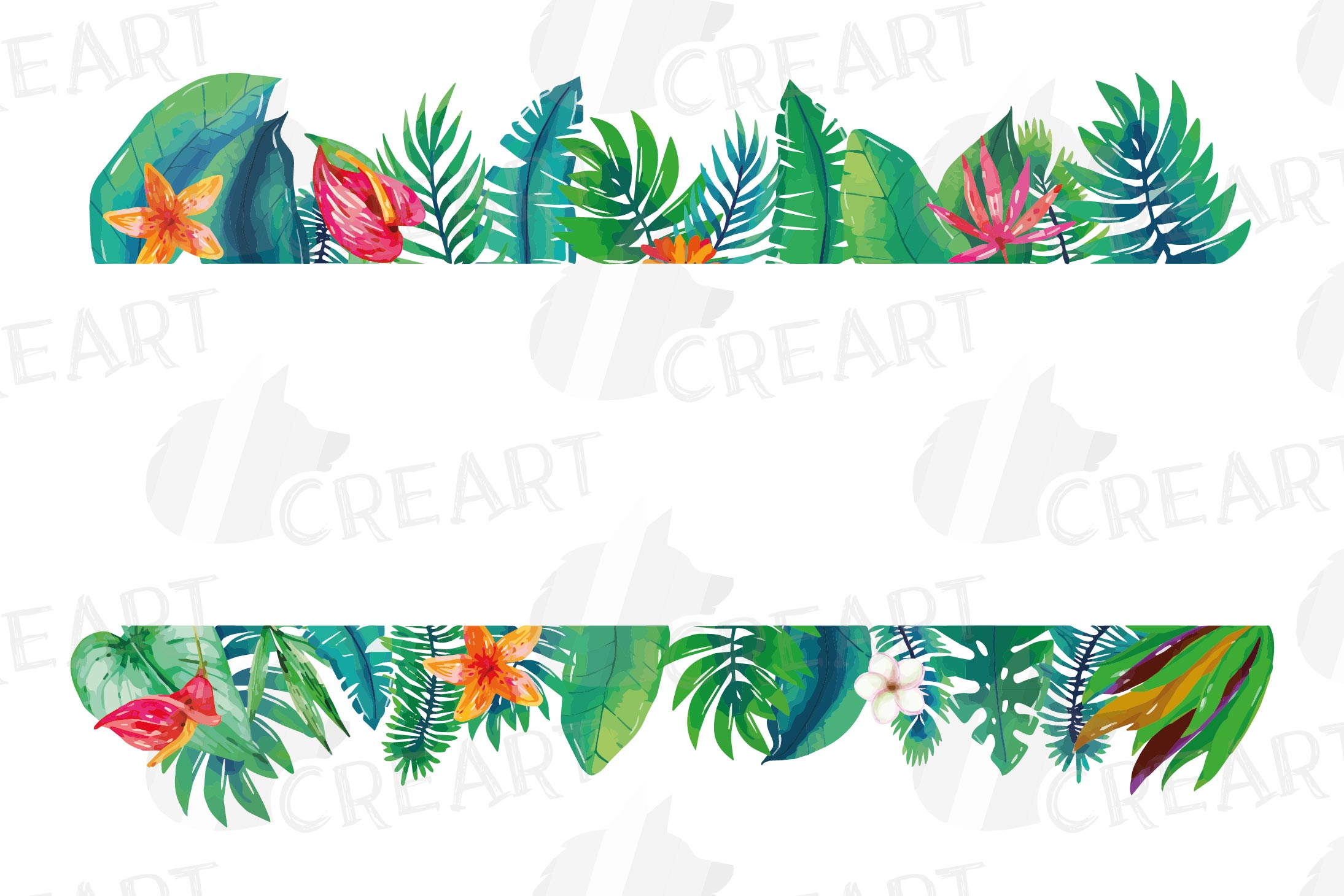 Watercolor tropical navy blue and green exotic floral frames example image 3