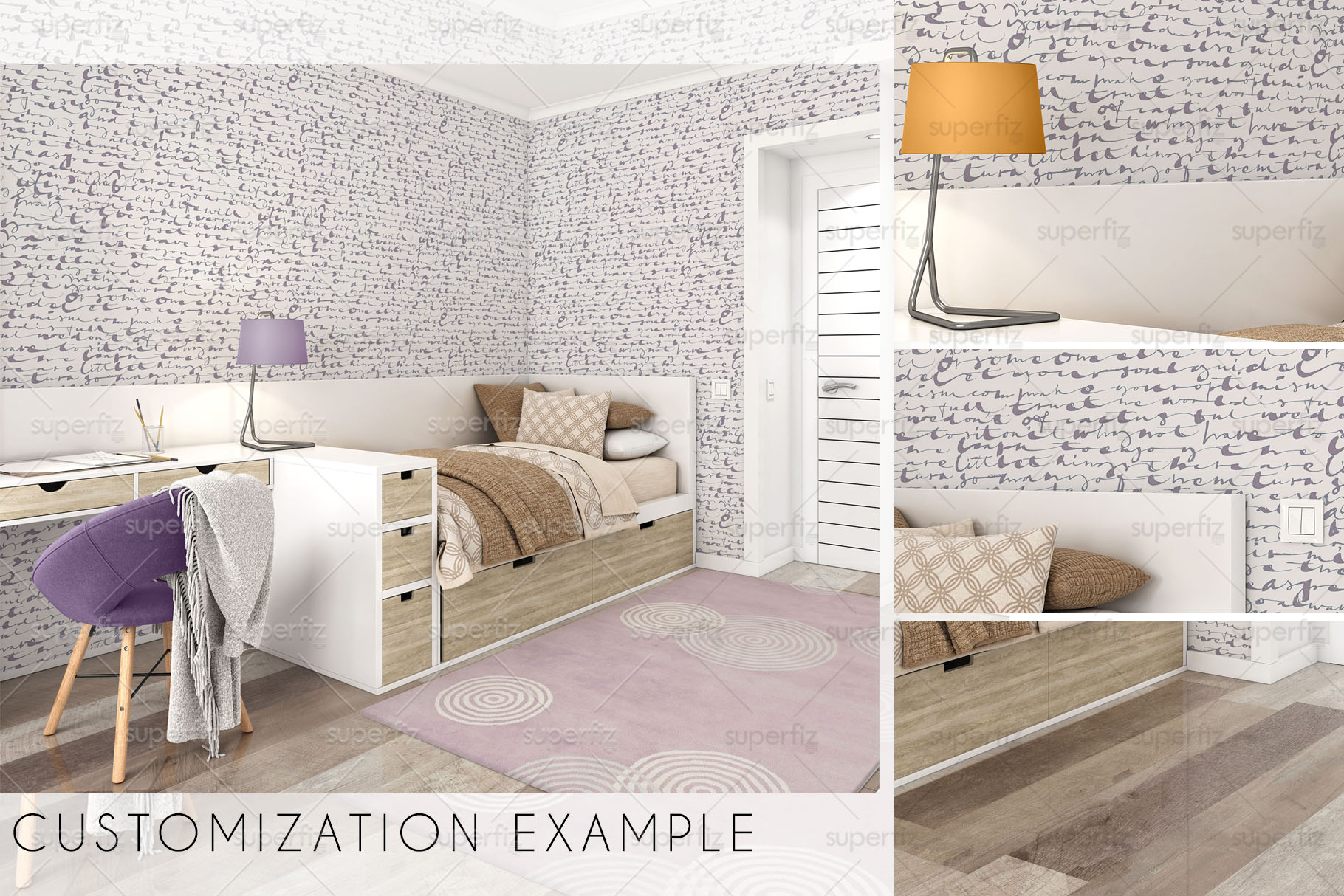 Wallpaper, floor and carpet Mockup Kids Bedroom SM62 example image 6