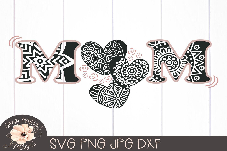 Mom Mandala Svg   Mothers Day Zentangle Svg example image 3