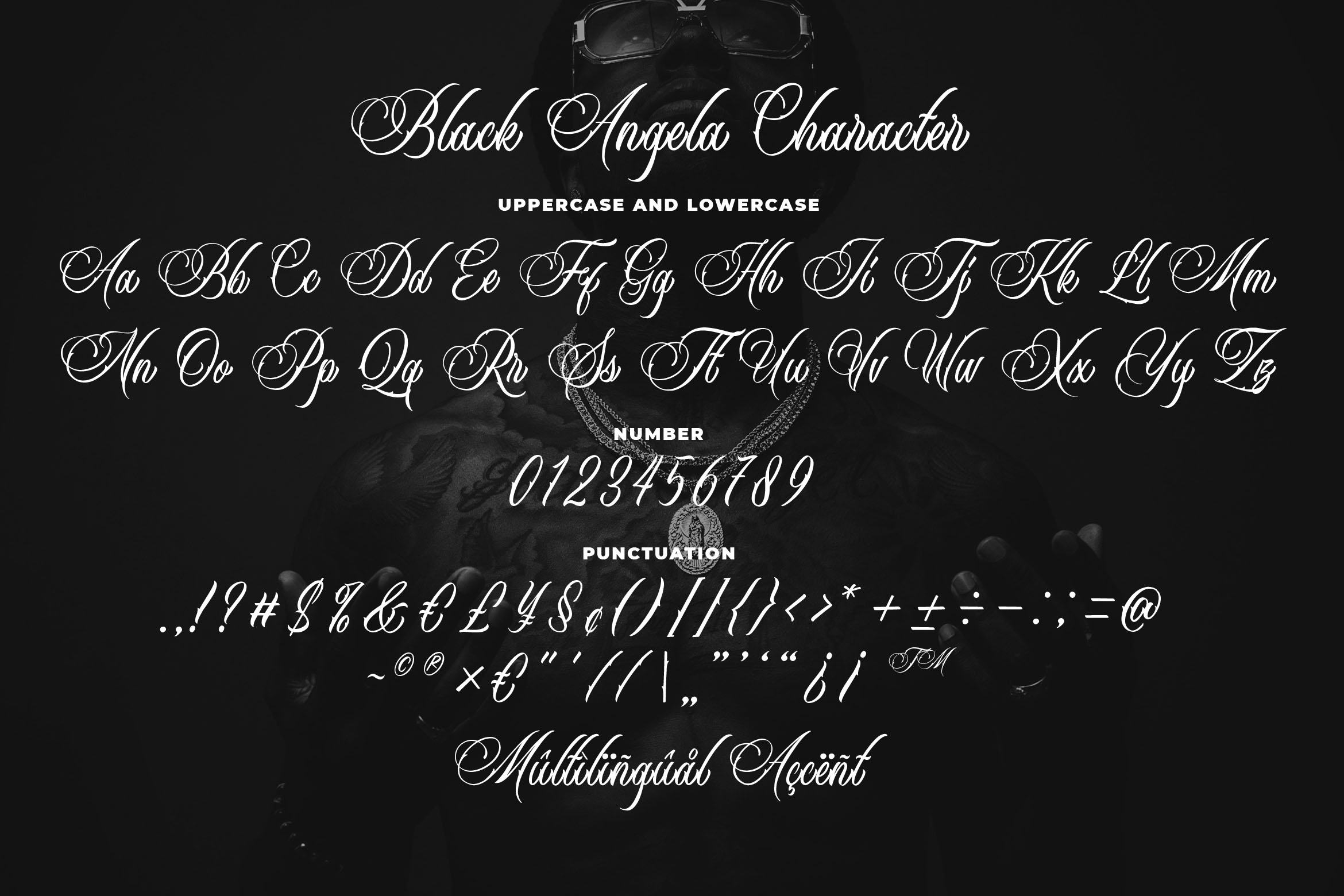 Black Angela - Tattoo Font example image 6