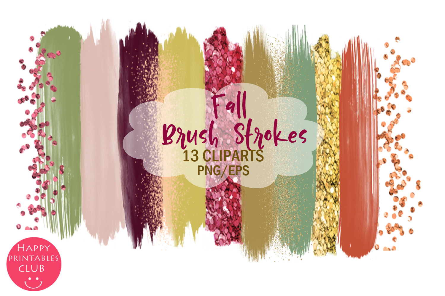 Fall Brush Strokes Clipart- Brush Strokes Clipart example image 1