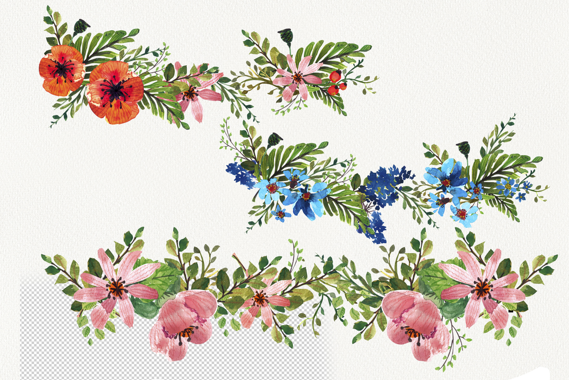 Flower Power watercolor pack set with frames wreath patterns example image 3