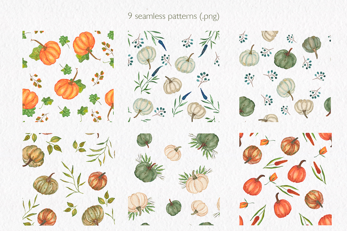 Pumpkin collection. Watercolor clipart. example image 9
