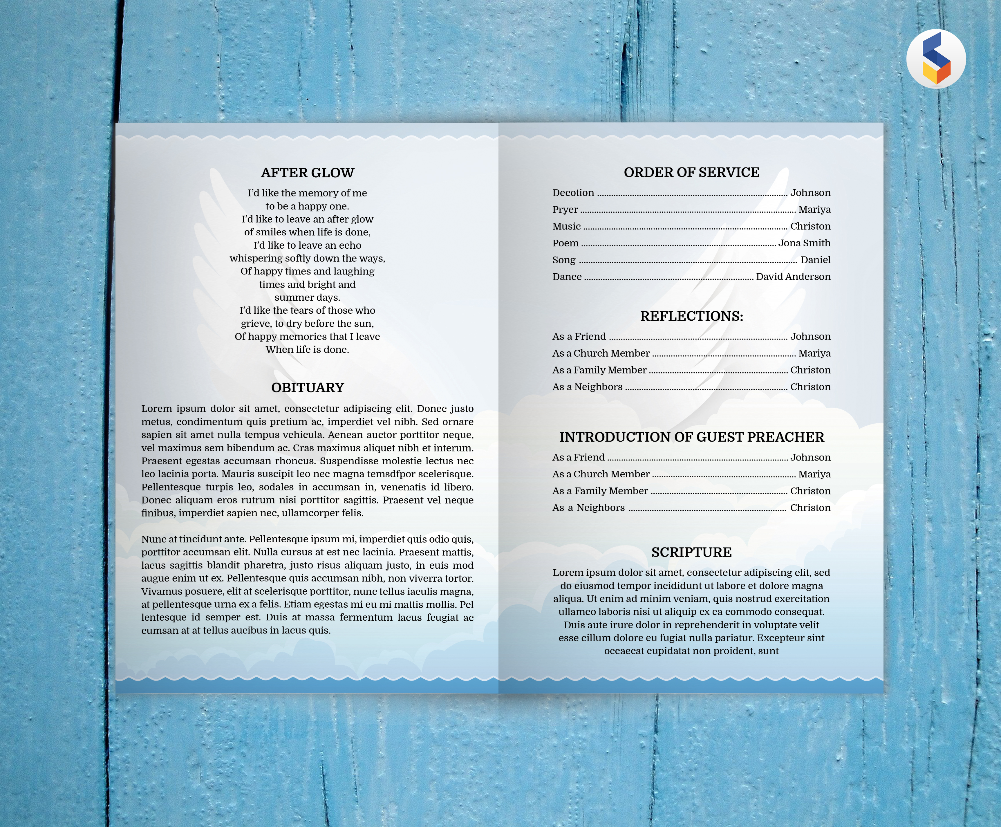ANGEL WING | Funeral Program Template | MS Word Only example image 2