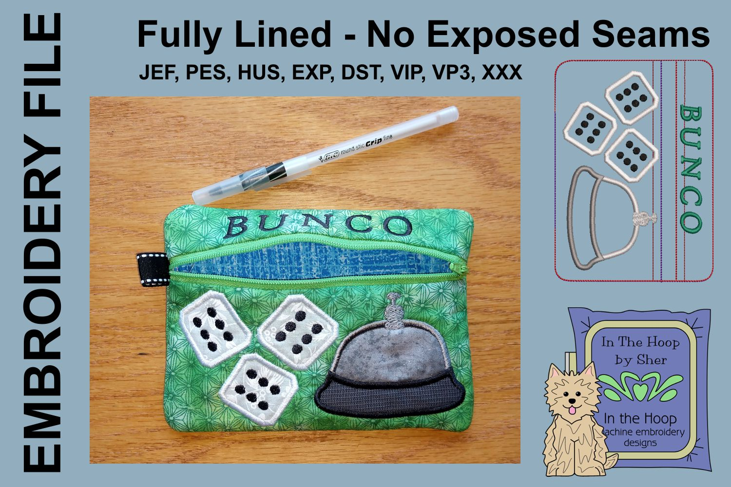 ITH Bunco Zipper Bag - Fully Lined, 5X7 HOOP example image 2