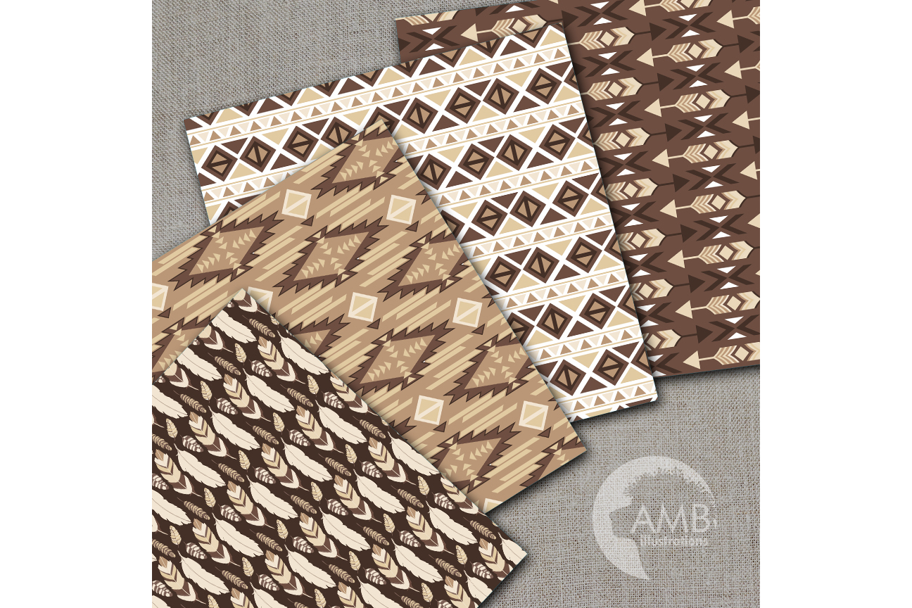 Arrows Tribal, Feathers Digital Papers, Tribal brown and beige Papers, Aztec papers, Arrows Triangles, instant download, AMB-1552 example image 2