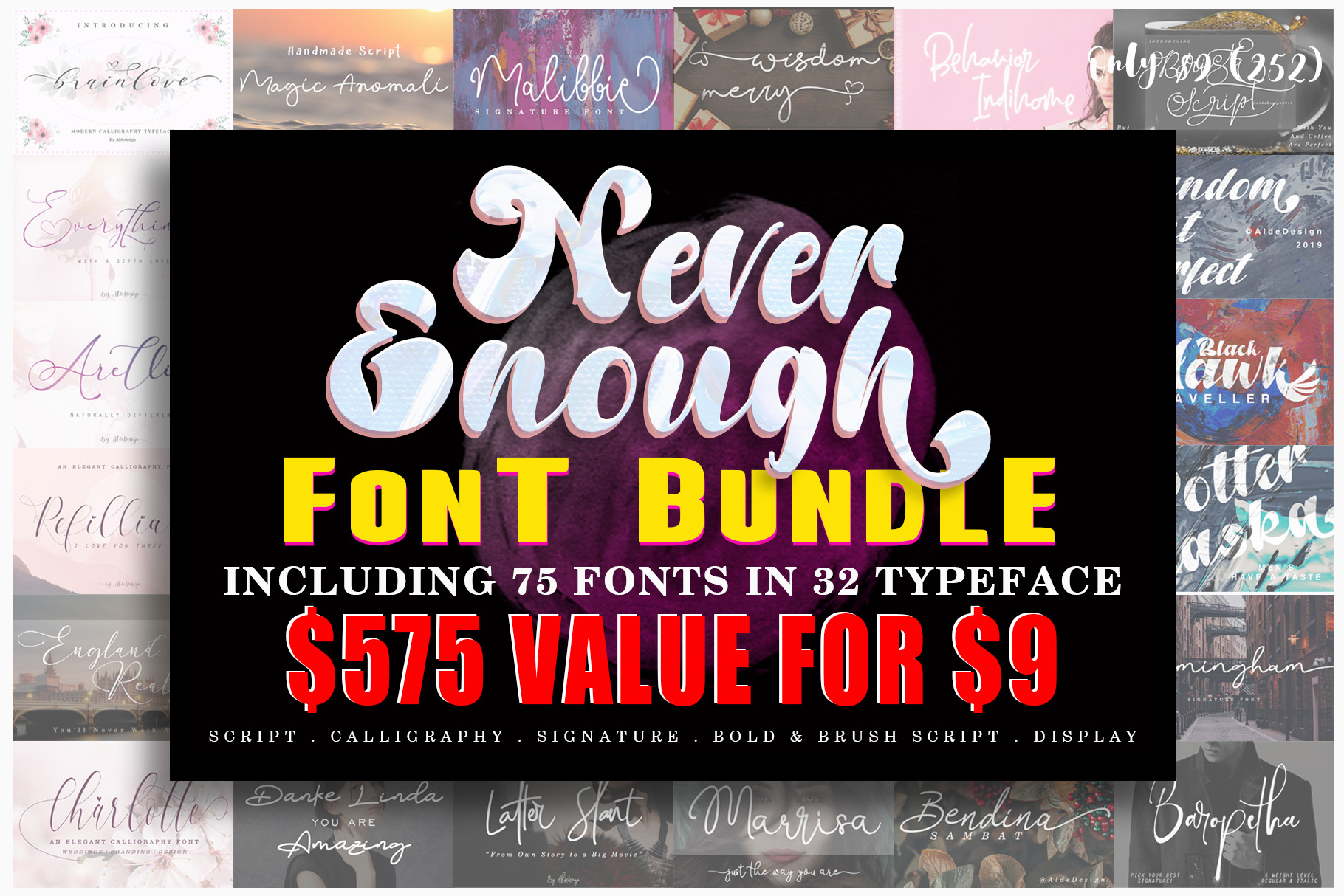 Never Enough Bundle || 72 Fonts in 32 Typeface example image 1