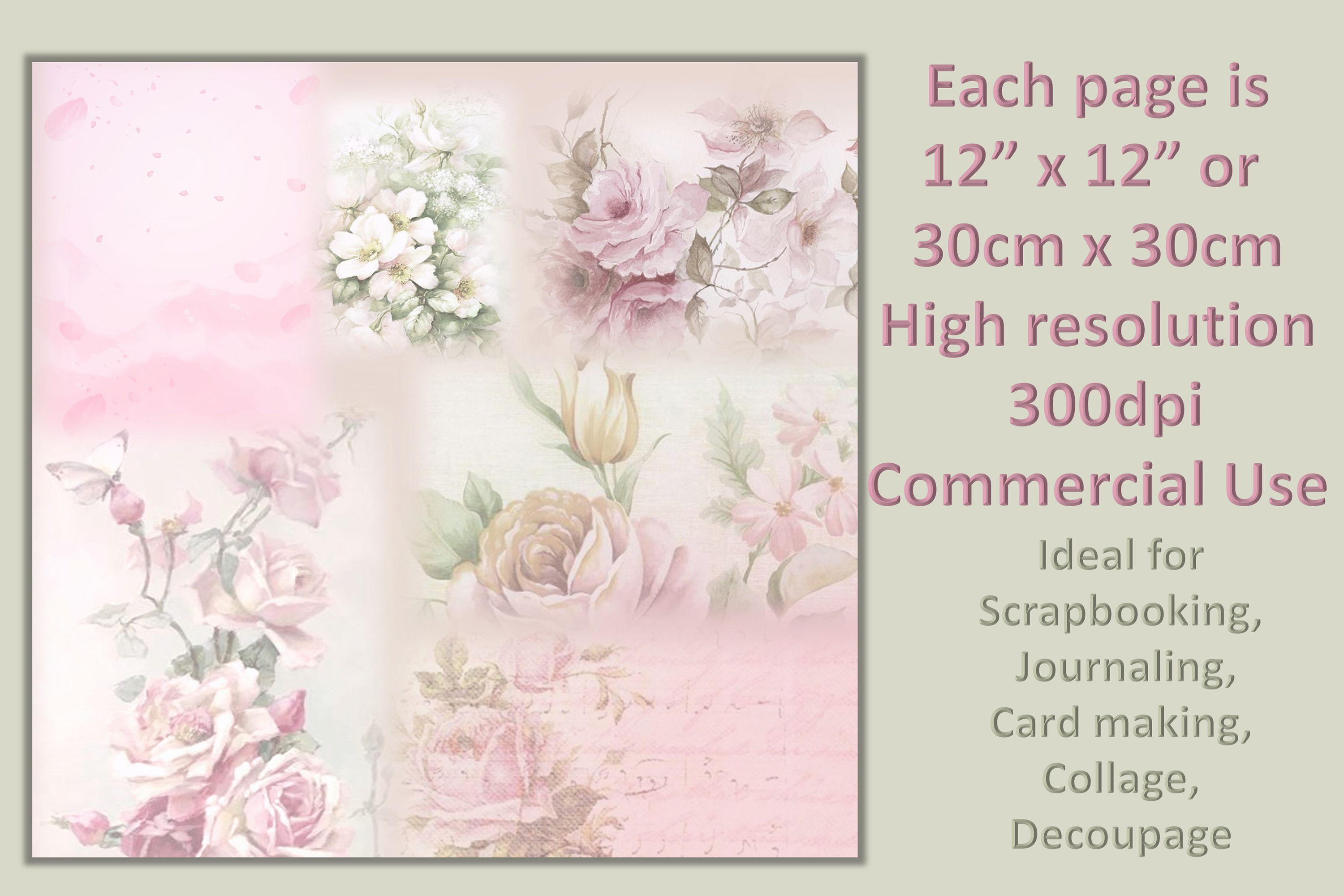 Vintage Shabby Chic Scrapbook Paper 12 x 12 example image 2