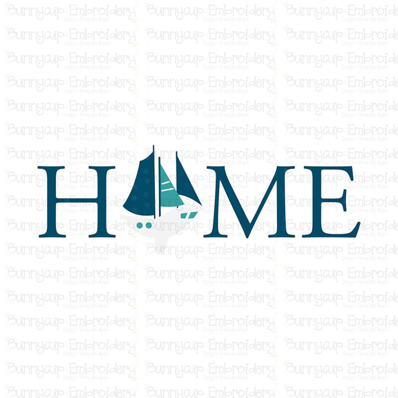 Home With Sailboat - SVG, Clipart, Printable example image 2