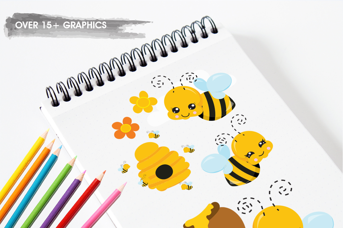 Kawaii Honeybees graphic and illustrations example image 5