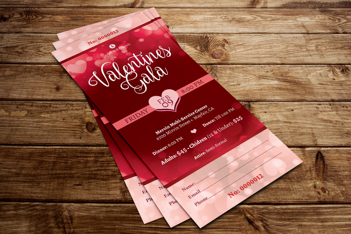 Red Hearts Valentines Gala Ticket Template example image 5