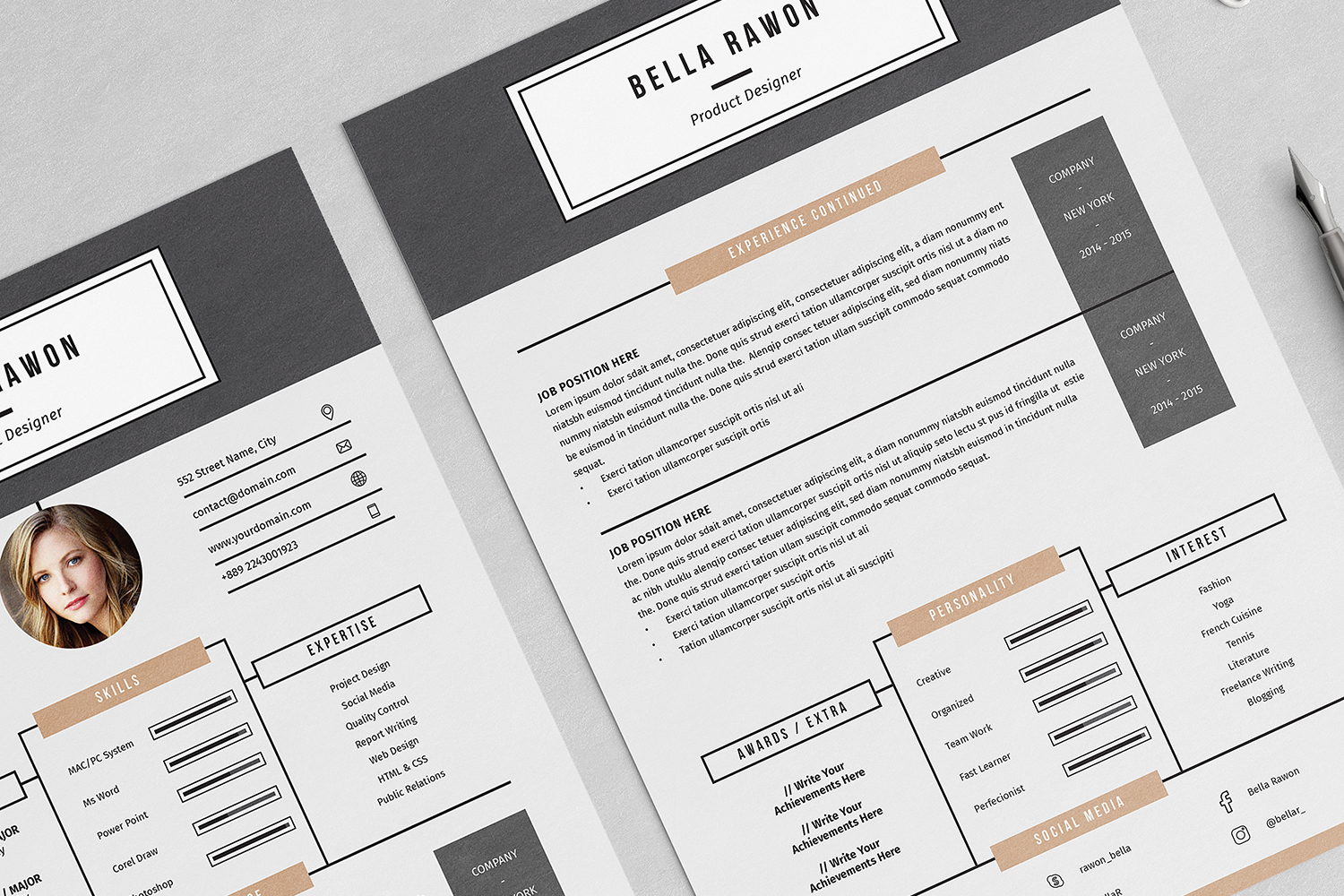 Bella Resume with Cover Letter Professional Template example image 4
