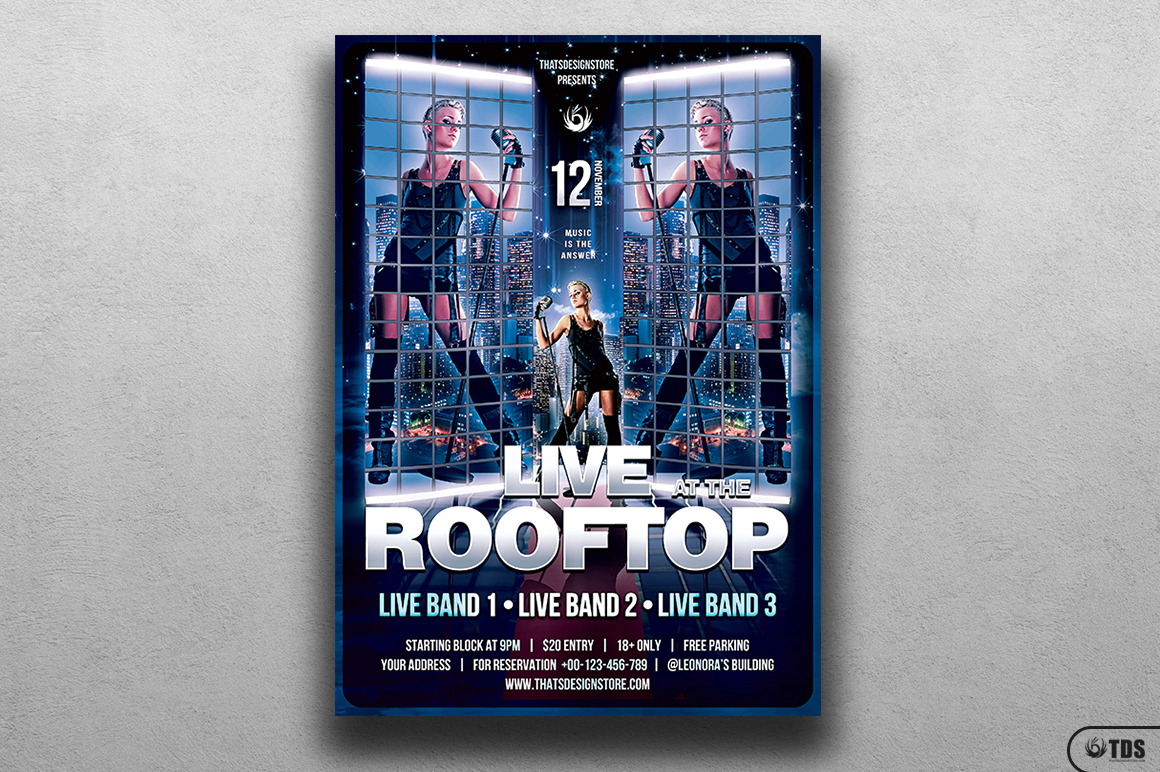 Rooftop Live Flyer Template example image 1