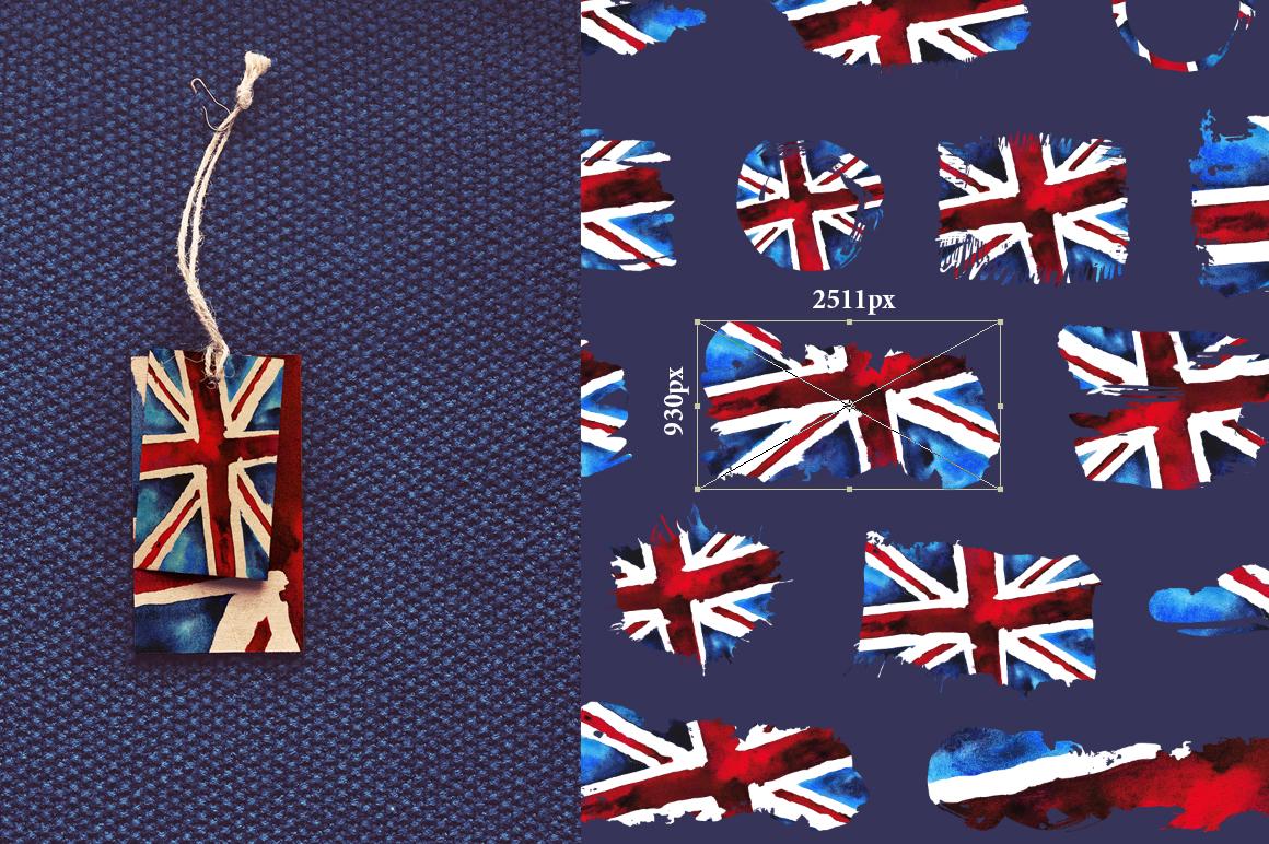 Old British. Watercolor britain flag. United Kingdom. example image 3