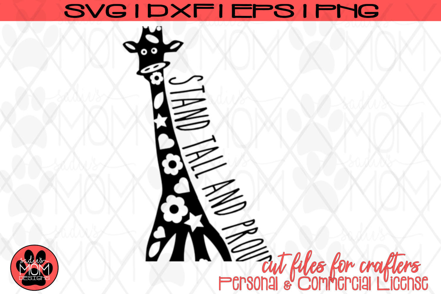 Doodle Giraffe - Stand Tall and Proud   SVG Cut File example image 2